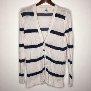 Old Navy White & Navy Blue Linen Blend Cardigan L